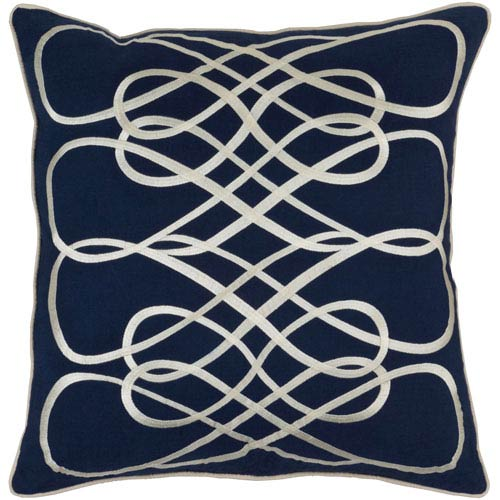 Leah Navy and Beige 18-Inch Pillow with Down Fill