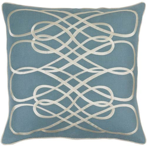 Leah Slate and Beige 20-Inch Pillow with Down Fill