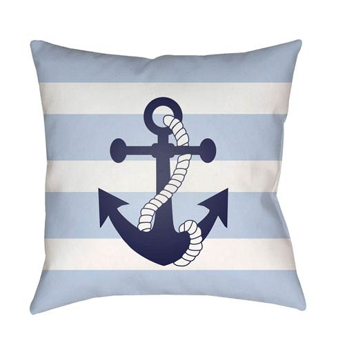Surya Anchor II Blue and White 18 x 18-Inch Throw Pillow