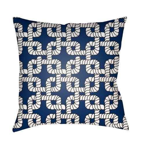 Surya Rope II Blue and White 18 x 18-Inch Throw Pillow