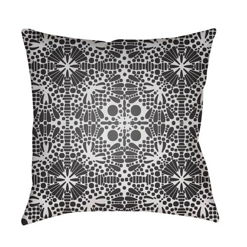Surya Laser Cut White and Black 18 x 18-Inch Pillow