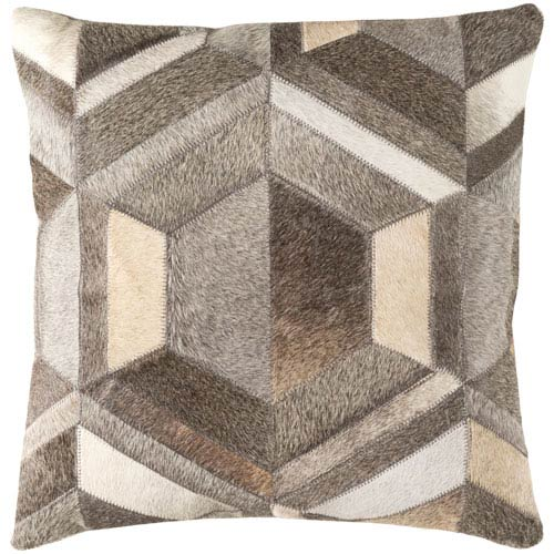 Lycaon Gray and Brown 18-Inch Pillow with Down Fill