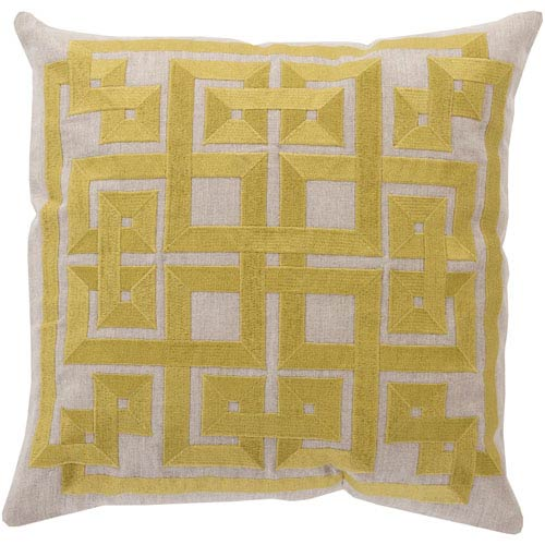 Quince Yellow and Oatmeal Polyester Filled 18 x 18  Pillow