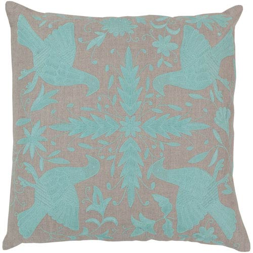 Oatmeal and Robin's Egg Blue Polyester Filled 18 x 18  Pillow