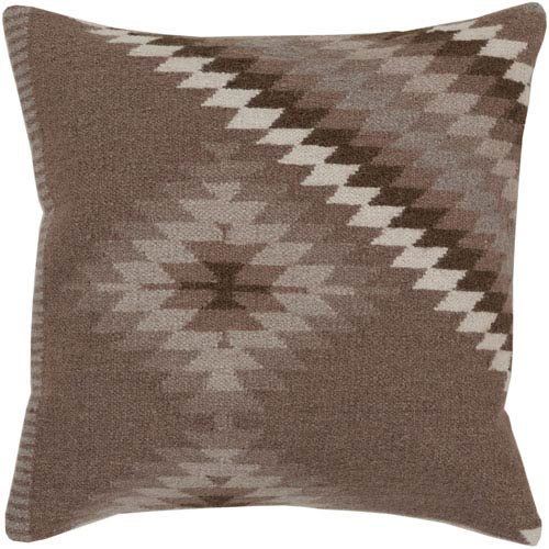 Dark Taupe, Oatmeal and Army Green Polyester Filled 22 x 22  Pillow