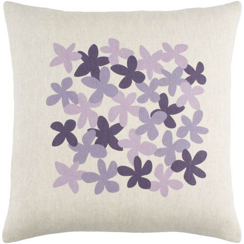 Little Flower Purple 22-Inch Pillow with Poly Fill