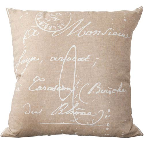 18-Inch Square Dark Taupe and Papyrus Scripted Pattern Cotton Pillow Cover with Down Insert