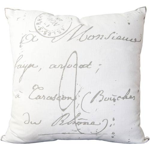 18-Inch Square Pewter and Papyrus Scripted Pattern Cotton Pillow Cover with Down Insert