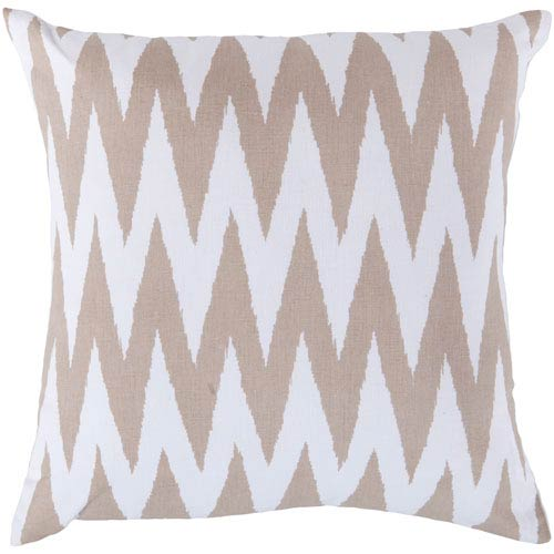 18-Inch Square Safari Tan and White Striped Cotton Pillow Cover with Poly Insert