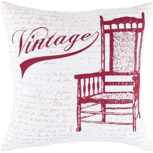 22-Inch Square Carmine, Feather Gray, and White Vintage Cotton Pillow Cover with Poly Insert