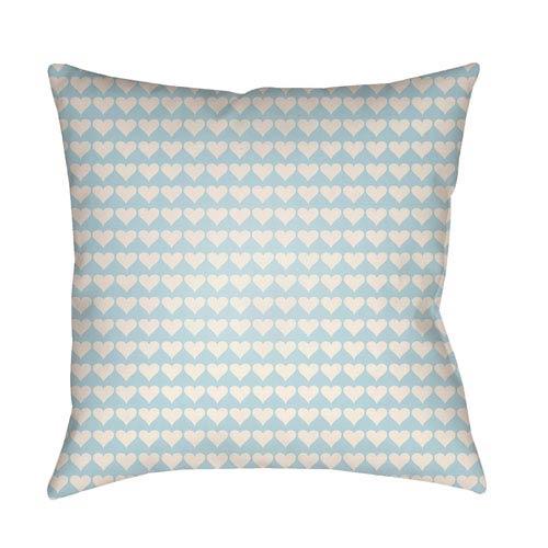 Littles White and Aqua 20 x 20-Inch Pillow