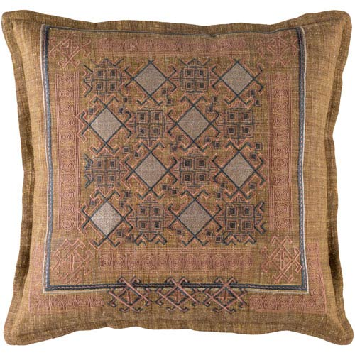 Litavka Brown and Pink 20-Inch Pillow Cover