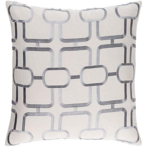 Surya Lockhart Light Gray and Denim 18 x 18 In. Throw Pillow