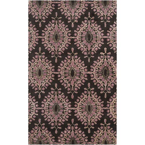 Moderne Charcoal and Lilac Rectangular: 5 ft. x 8 ft. Rug