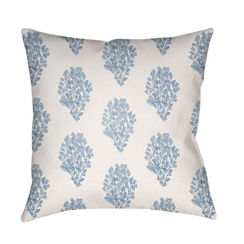 Moody Floral Bright Blue and Denim 22 x 22-Inch Pillow