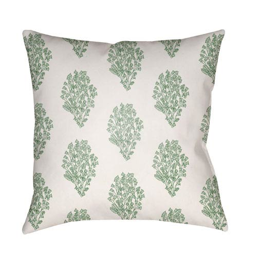 Surya Moody Floral Grass Green and Sea Foam 18 x 18-Inch Pillow