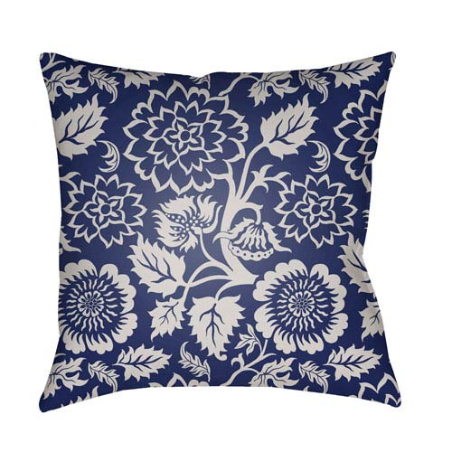 Surya Moody Floral Dark Blue and Ivory 18 x 18-Inch Pillow