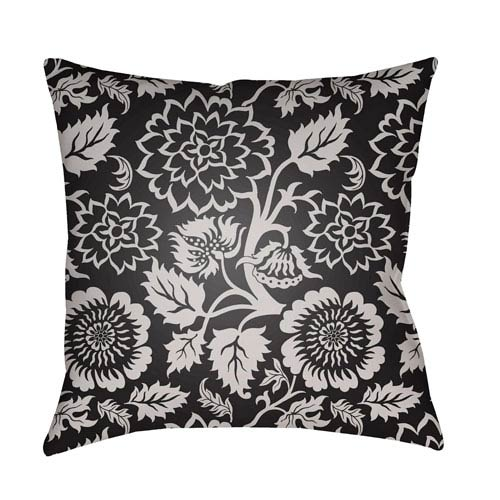 Surya Moody Floral Light Gray and Black 20 x 20-Inch Pillow