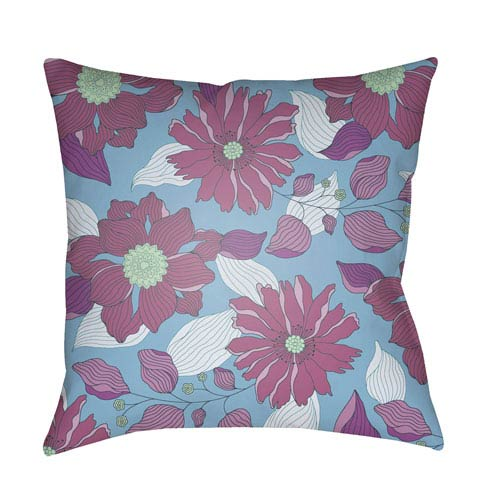 Surya Moody Floral Sky Blue and Bright Purple 20 x 20-Inch Pillow