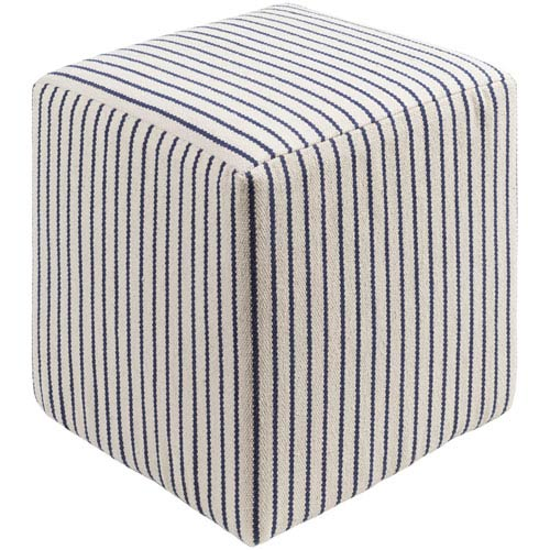 Surya Milford Cream and Navy Pouf
