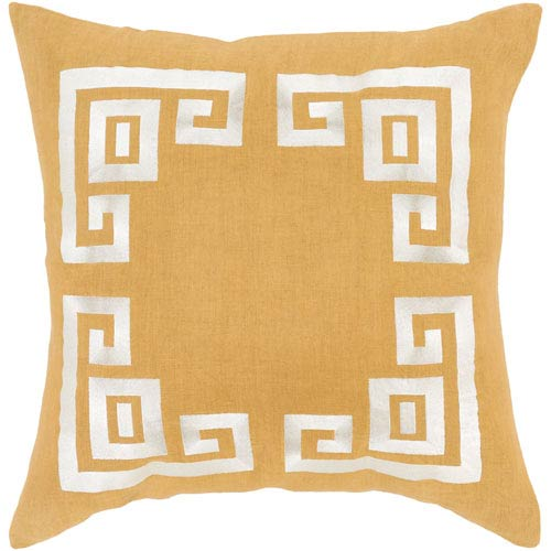 Milo Gold and Beige 22-Inch Pillow with Down Fill