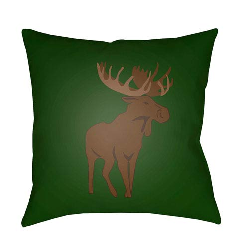 Surya Moose Green and Brown 20 x 20-Inch Throw Pillow