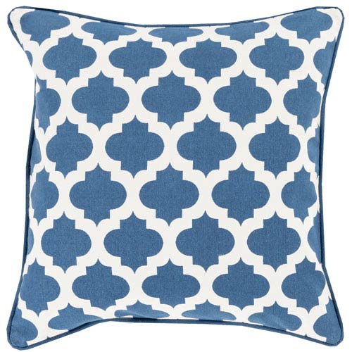 Surya Moroccan Printed Lattice Blue And Neutral 20 Inch Pillow Cover