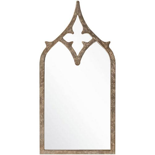 Surya Harlan Weathered Pewter Decorative Arched and Crowned Mirror