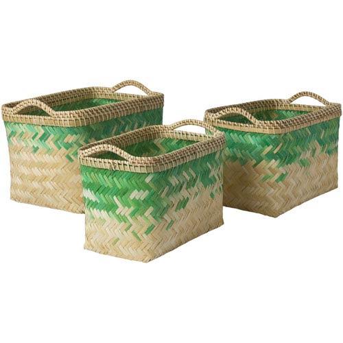 Surya Marshfield Butter and Emerald Basket