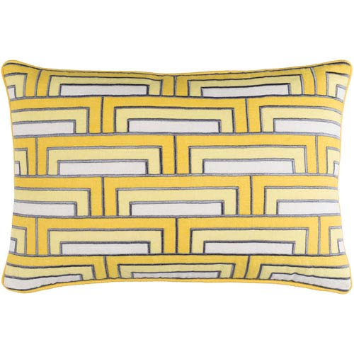 Mod Steps Sunflower and Ivory 13 x 20-Inch Pillow with Poly Fill