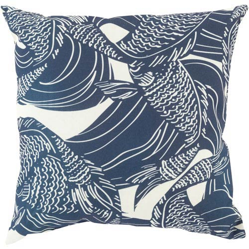 Olivia Lou Navy and Beige 18-Inch Pillow with Poly Fill
