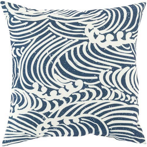 Helena Grace Navy and Beige 18-Inch Pillow with Poly Fill