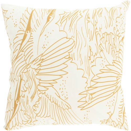 Henry Daniel Gold and Beige 18-Inch Pillow with Poly Fill