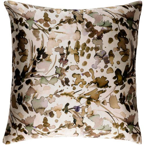 Naida Neutral and Brown 22-Inch Pillow with Down Fill