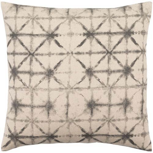 Nebula Charcoal and Beige 18-Inch Pillow with Down Fill