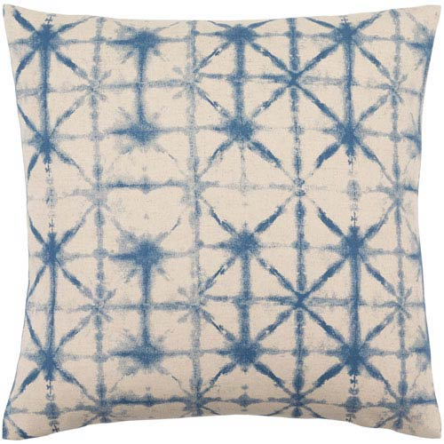 Nebula Cobalt and Beige 18-Inch Pillow with Down Fill