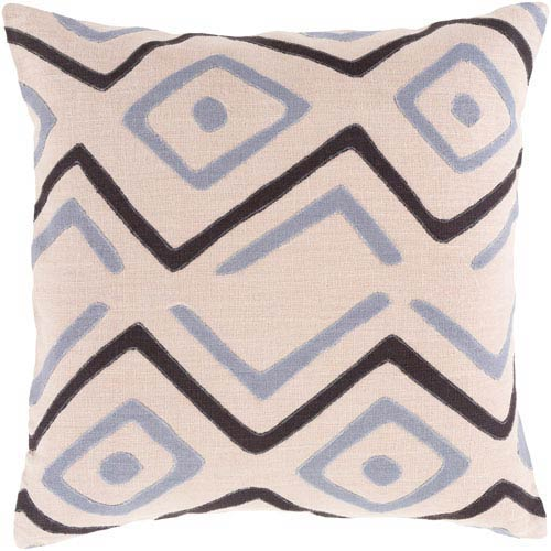 Surya Nairobi Charcoal and Light Gray 18-Inch Pillow with Down Fill