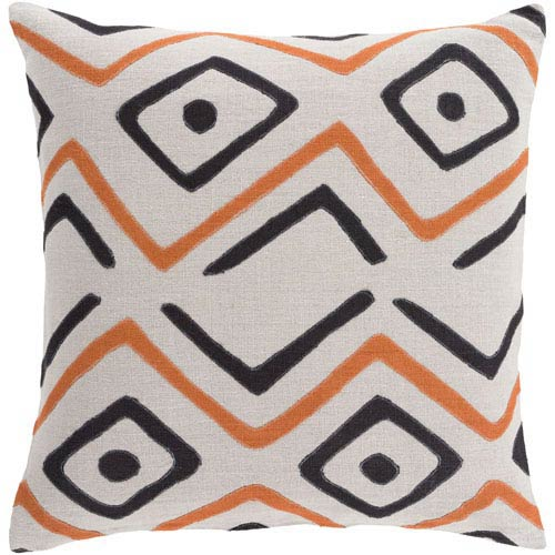 Surya Nairobi Rust and Light Gray 18-Inch Pillow with Down Fill
