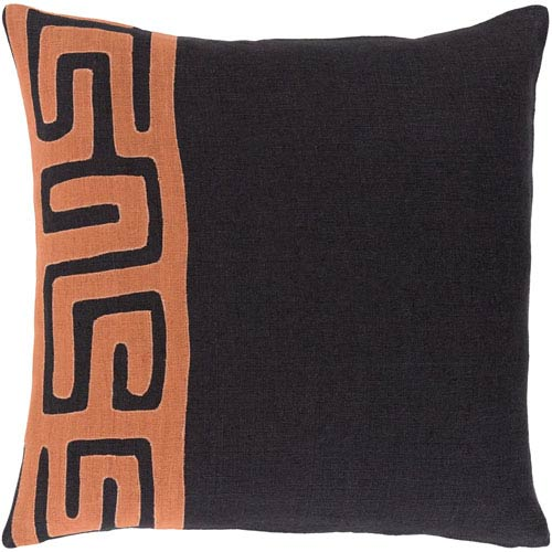 Nairobi Orange and Black 18-Inch Pillow Cover