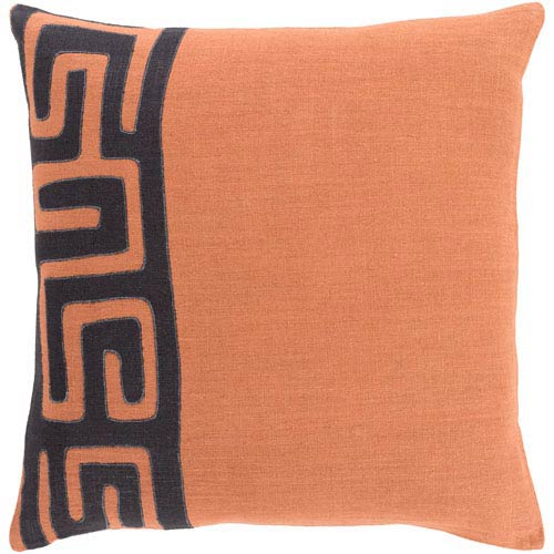 Nairobi Rust and Black 18-Inch Pillow with Down Fill