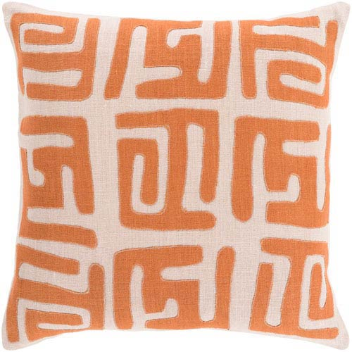 Nairobi Rust and Beige 18-Inch Pillow with Poly Fill