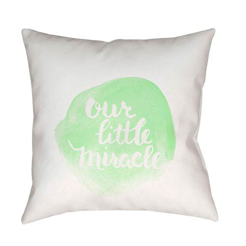 Surya Miracle Green and White 20 x 20-Inch Throw Pillow