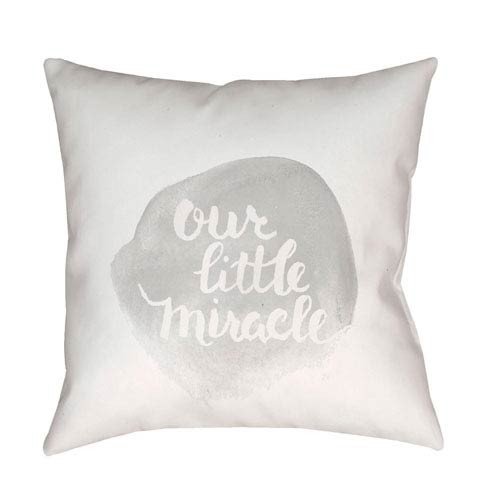 Surya Miracle Gray and White 20 x 20-Inch Throw Pillow