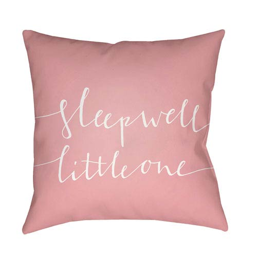 Surya Little One Pink and White 18 x 18-Inch Throw Pillow