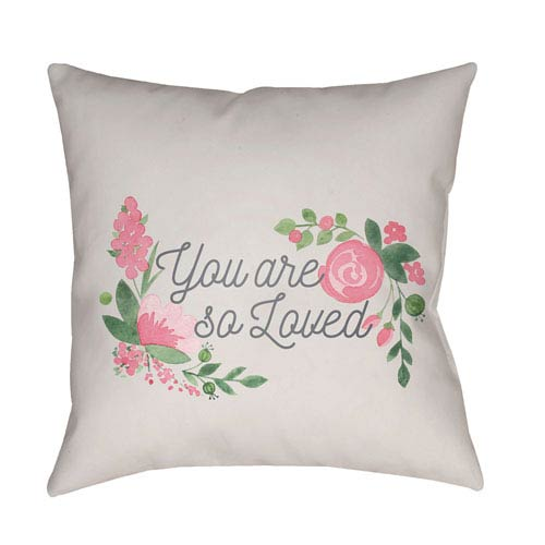Surya You Are Loved Multicolor 20 x 20-Inch Throw Pillow