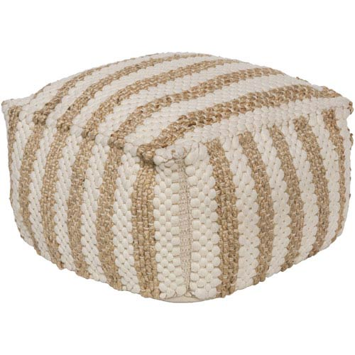 Oak Cove White and Khaki Pouf