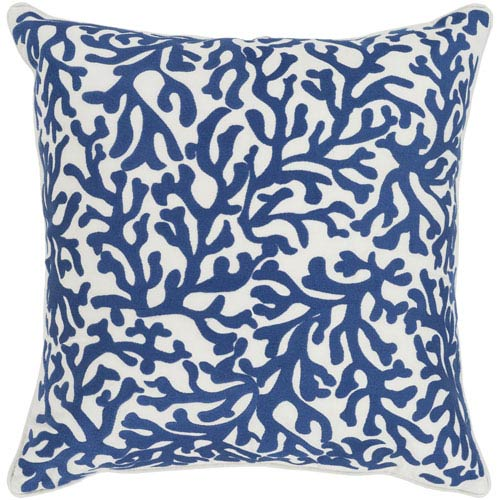 Surya Osprey Dark Blue and Cream 18 x 18 In. Throw Pillow