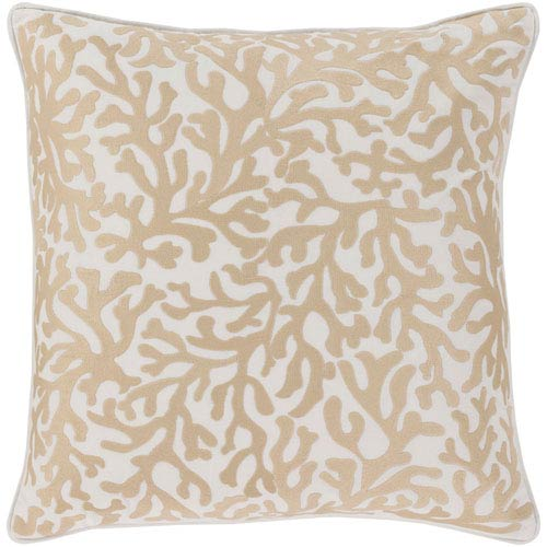Osprey Khaki and Cream 18 x 18 In. Throw Pillow Cover