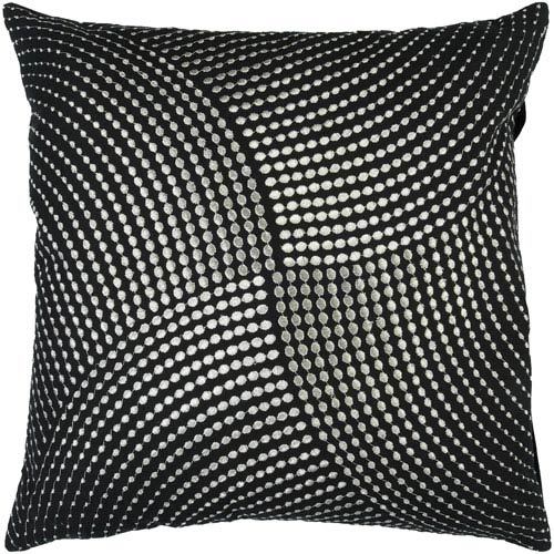 Black and Metallic Silver Dot 22 x 22 Pillow