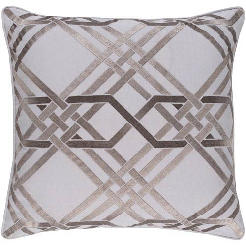 Surya Pagoda Light Gray 18-Inch Pillow with Poly Fill